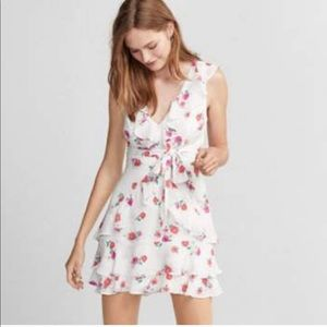 Express Tie Waist Ruffle Fit and Flare Dress